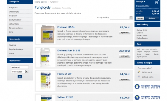 Widok listy produktów
