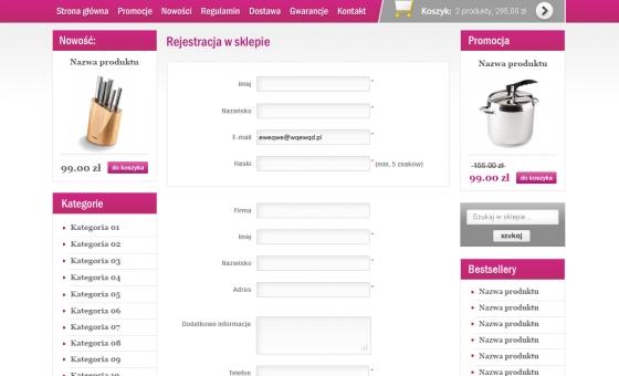 Widok formularza rejestracji