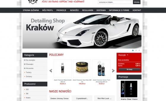 Widok strony głównej sklepu internetowego