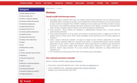 widok strony informacyjnej